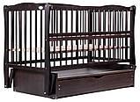 Кровать Babyroom Еліт резьба маятник, ящик, откидной бок DER-7  бук венге, фото 4