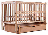 Кровать Babyroom Еліт резьба маятник, ящик, откидной бок DER-7  бук светлый (натуральный), фото 4