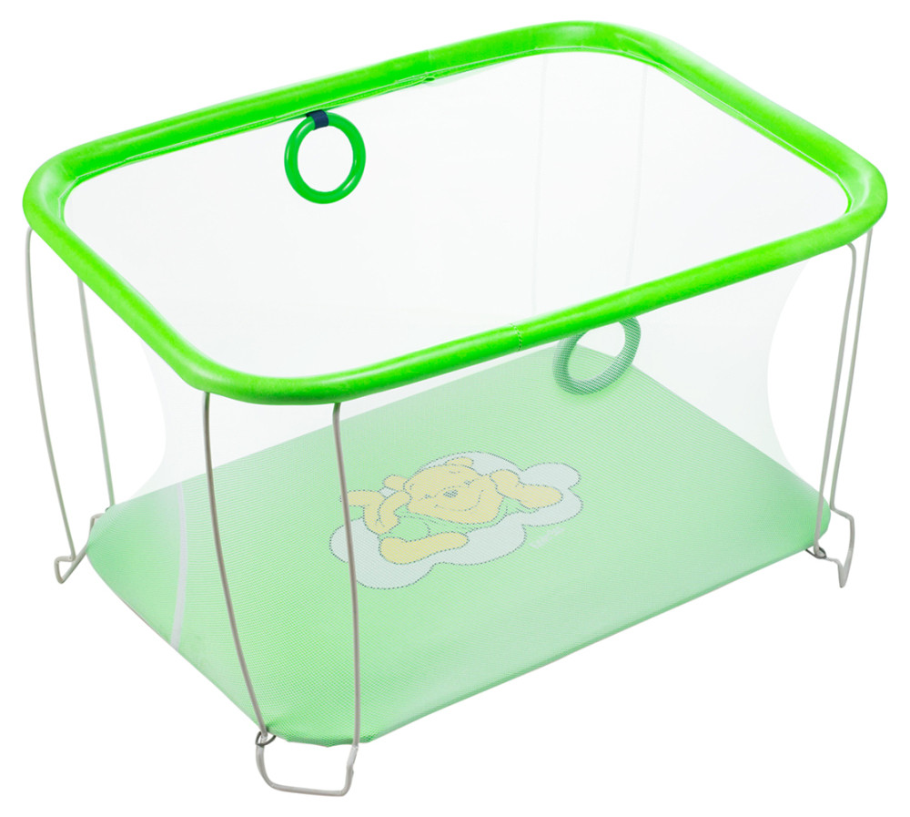 Манеж Qvatro Солнышко-02 мелкая сетка  зеленый (winnie pooh)