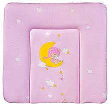 Пеленальний матрац Ceba Baby CE-102 medium рожевий (ведмедик на місяці)