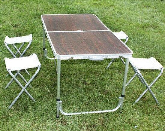 Стол для пикника Folding Tableусиленный с 4 стульями,раскладной чемодан.
