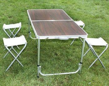Стол для пикника Folding Table усиленный с 4 стульями, раскладной чемодан.