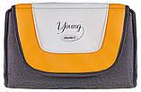 Коляска трансформер Adamex Young  серый лен - оранжевая кожа - св.серый лен, фото 3