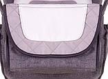 Коляска трансформер Adamex Young 424P серый лен- серая строчка -белый (узор), фото 3