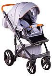 Коляска 2 в 1 Adamex Monte Deluxe Carbon D35 св.серый лен - св.серая кожа - оранжевый кант (оранжевая ручка), фото 5
