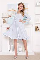 Стильное платье до колен с ложным запахом с воланом длинный рукав горох голубого цвета