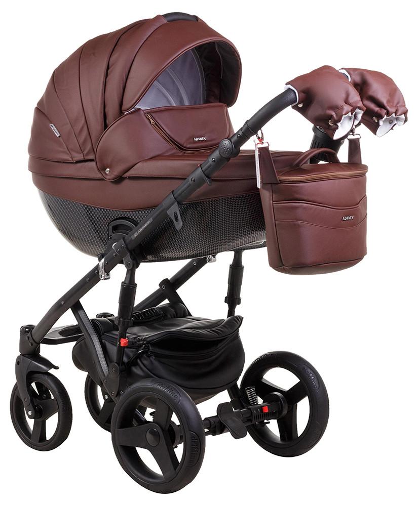 Коляска 2 в 1 Adamex Monte Deluxe Carbon кожа 100% 54S-CZ т.коричневый