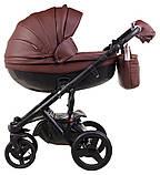 Коляска 2 в 1 Adamex Monte Deluxe Carbon кожа 100% 54S-CZ т.коричневый, фото 2