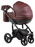 Коляска 2 в 1 Adamex Monte Deluxe Carbon кожа 100% 54S-CZ т.коричневый, фото 3