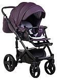 Коляска 2 в 1 Adamex Monte Deluxe Carbon кожа 100% 51S-CZ фиолетовый (черный карбон и рама), фото 5