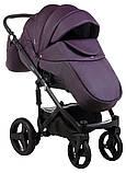 Коляска 2 в 1 Adamex Monte Deluxe Carbon кожа 100% 51S-CZ фиолетовый (черный карбон и рама), фото 6
