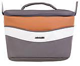 Коляска 2 в 1 Adamex Monte Deluxe Carbon кожа 100% D101 серый-коричневый-белый, фото 5