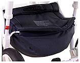 Коляска 2 в 1 Adamex Monte Deluxe Carbon D32 т.синий лен - белая кожа - красный кант (красная ручка), фото 7