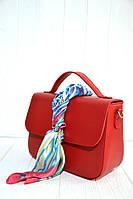 Жіноча сумочка-саквояж-портфель невеликого розміру в шести кольорах. Червона.