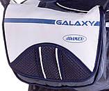 Коляска трансформер Adamex Galaxy  т.синий лен-т.синяя строчка-белый, фото 3