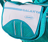 Коляска трансформер Adamex Galaxy  бирюзовый (цветики)-бирюзовая кожа (строчка)-белый, фото 3