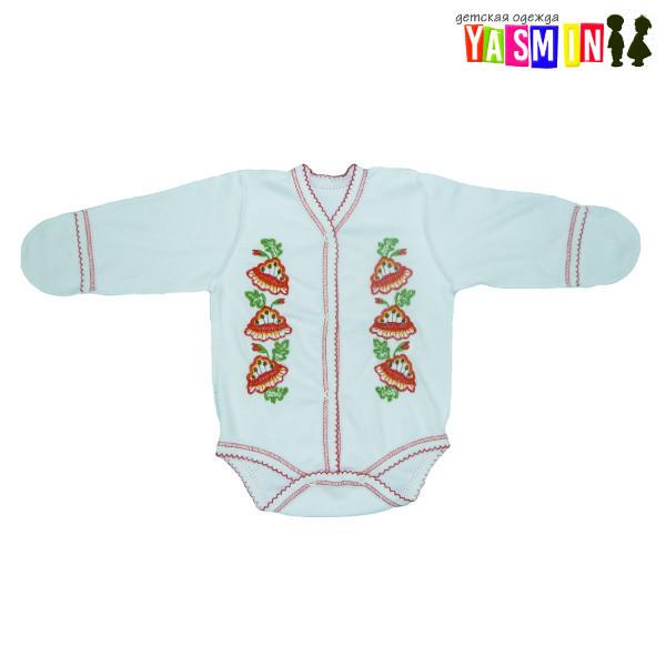 Боди-вышиванка для новорожденных девочек, на кнопках (интерлок)