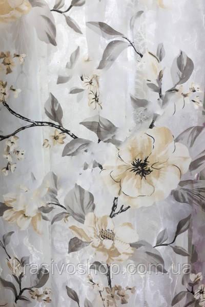 Тюль с цветами Лилия бежевый