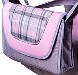 Коляска трансформер Adamex Young 212G серый лен-розовая кожа-серо розовая клетка, фото 3