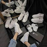 Женские белые кеды с светоотражающими полосками, фото 3