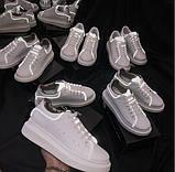 Женские белые кеды с светоотражающими полосками, фото 6