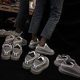 Женские белые кеды с светоотражающими полосками, фото 7