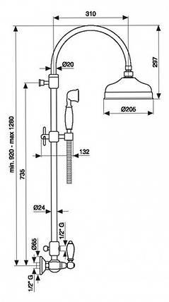 Смеситель для душа Emmevi DECO ceramica колонна бронза BR12100281, фото 2