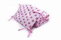 Бампер на кроватку Twins Premium стеганый, розовый звездочка