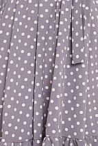 Красивое платье миди юбка пышная с воланом длинный рукав серого цвета в горох, фото 3