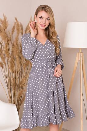 Красивое платье миди юбка пышная с воланом длинный рукав серого цвета в горох, фото 2