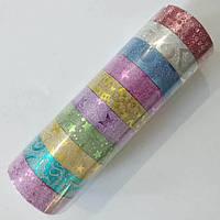 Скотч декоративний 1,4 см кольоровий з глітером та візерунками, упаковка 10 мотків по 3 м різного кольору