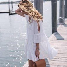 Платье пляжное короткое белое с гипюром -146-50, фото 2