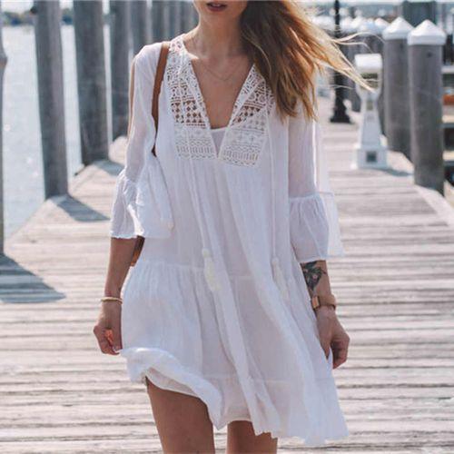 Платье пляжное короткое белое с гипюром -146-50