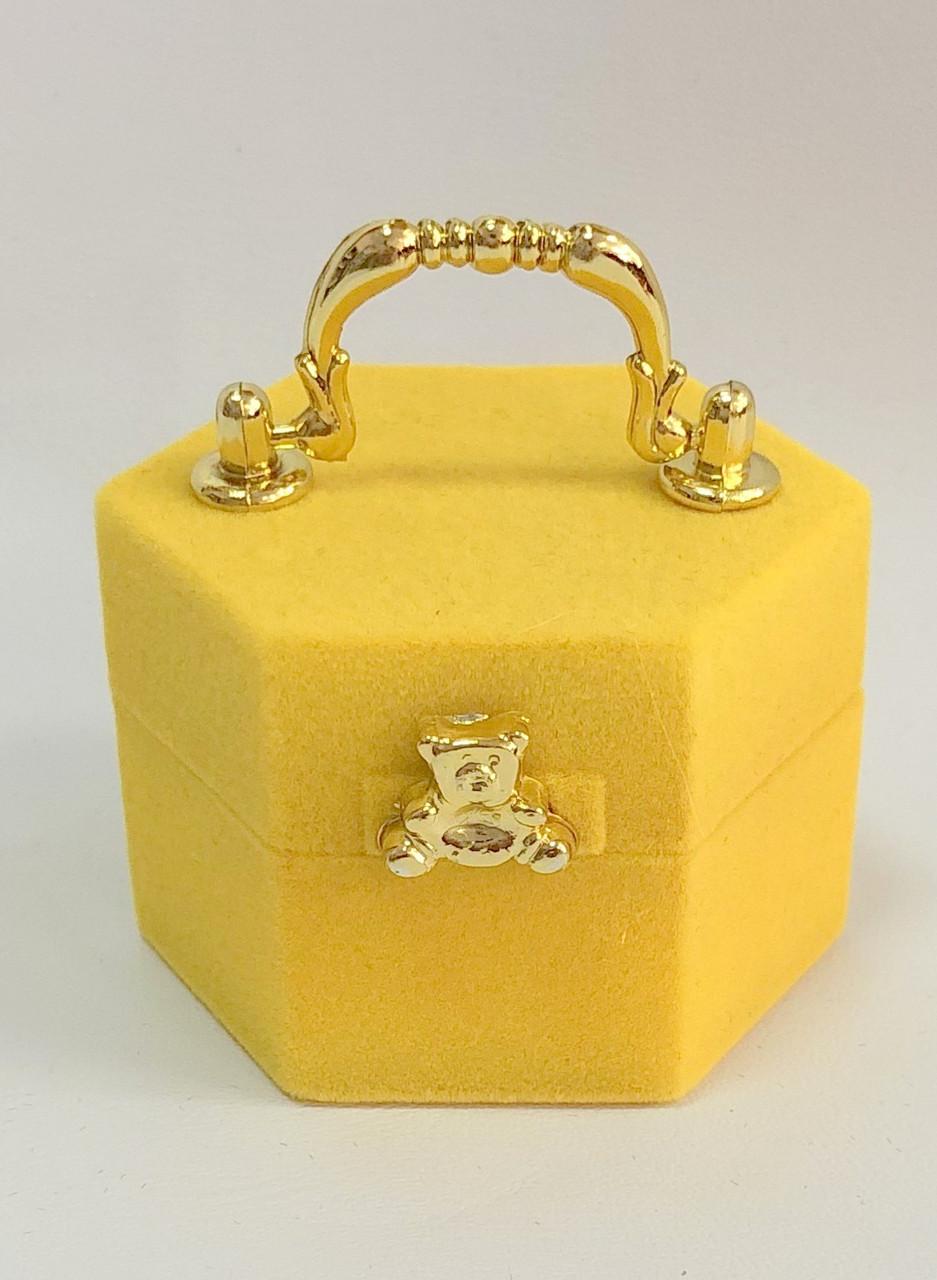 """Футляр для кілець оксамитовий """"Скринька"""" жовтий 997"""