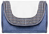 Коляска трансформер Adamex Young  синий джинс - белая кожа - сине-серое плетение, фото 3