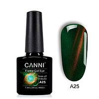 CANNI Flame Cat Eye - огненный кошачий глаз №А25 (зеленый с огненной полосой), 7.3 мл