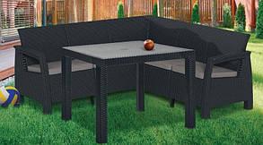 Мебель из пластика для дачи под ротанг: стол 161*95*75 см, софа 182*182*79 см