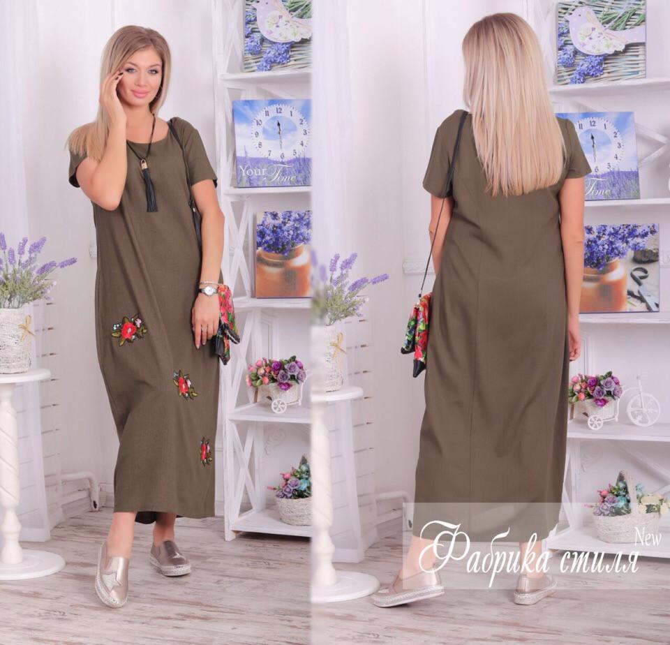 Льняное женское платье с карманами на лето