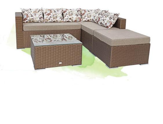 Угловой диван из искусственного ротанга, комплект садовой мебели «Дана», коричневый с золотым