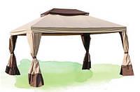 Садовый шатер для дачи, 3 х 4 м, шторки, воздушный клапан, коричневый