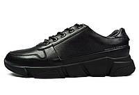 Черные мужские кожаные кроссовки комфорт BRONI, фото 1