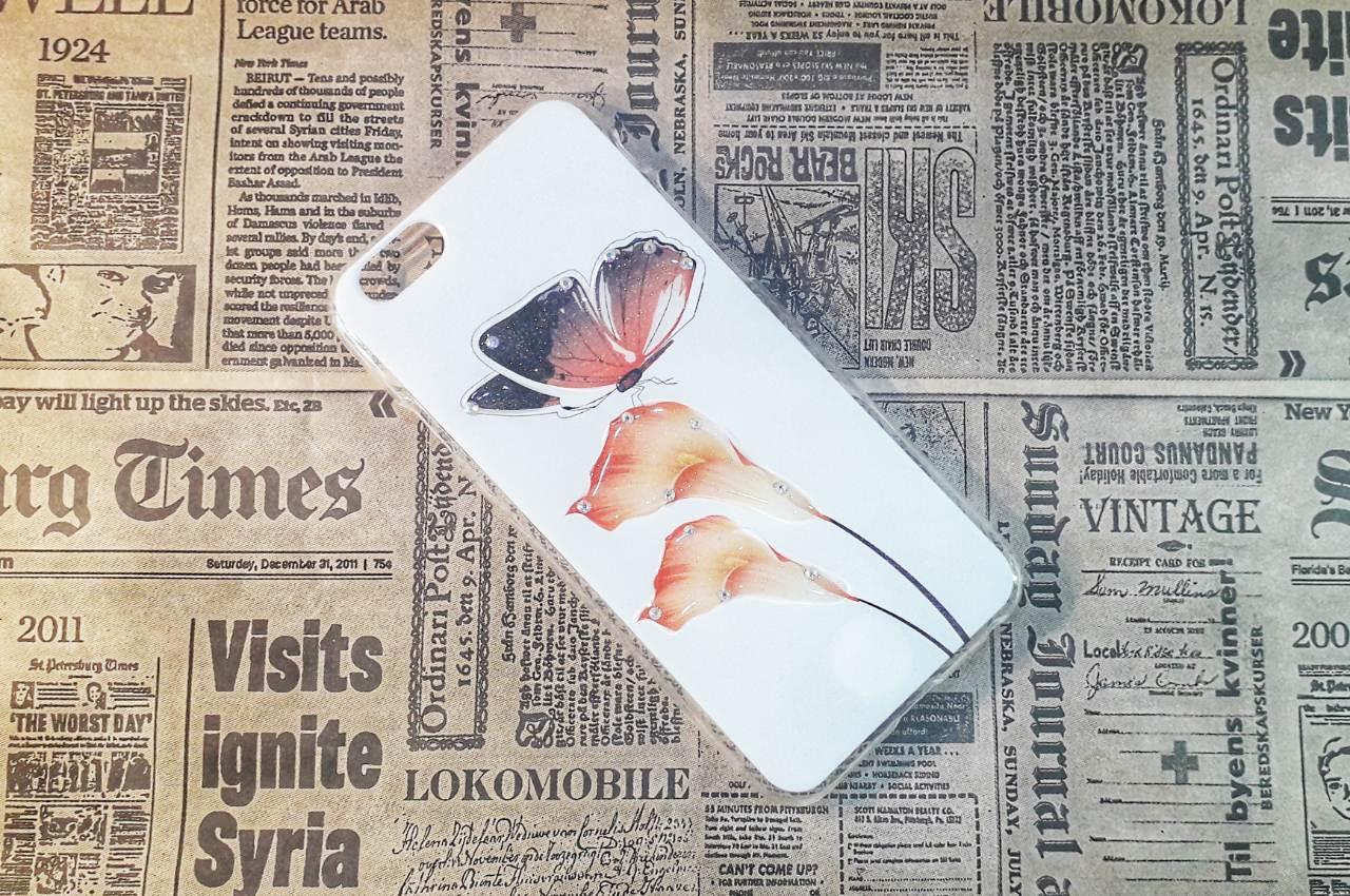 Чехол-накладка Flowers на Iphone 6/6S, White/Bordo