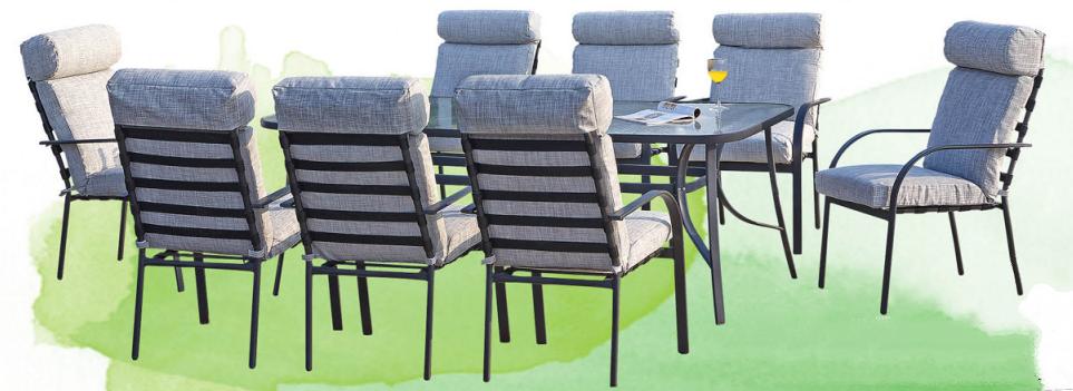 Nikol — шикарная металлическая мебель для дачи, стеклянный стол, 8 кресел, мягкие съемные подушки