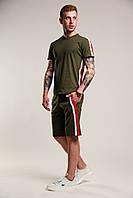 Футболка мужская летняя стильная с лампасами, цвет зеленый (хаки)