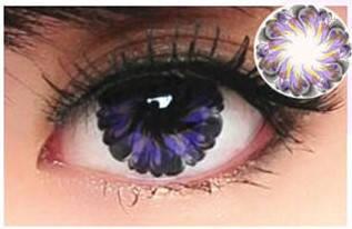 Линзы контактные фиолетовые (цветок) + контейнер в ПОДАРОК