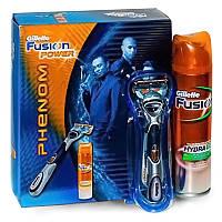 Мужской подарочный набор Gillette Fusion Power PHENOM  - станок на подставке, кассета, гель для бритья 200 мл