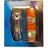 Мужской подарочный набор Gillette Fusion Power PHENOM  - станок на подставке, кассета, гель для бритья 200 мл, фото 3