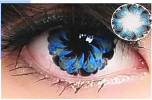 Линзы контактные голубые (цветок) + контейнер в ПОДАРОК