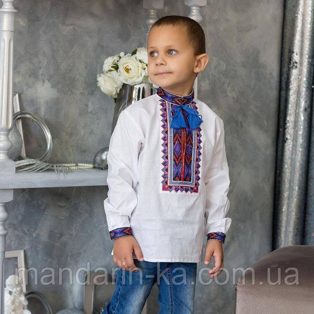 Детская вышиванка на домотканом полотне