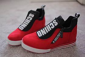 Женские  хайтопы кроссовки в стиле Moschino RED красные   36-40 новинка